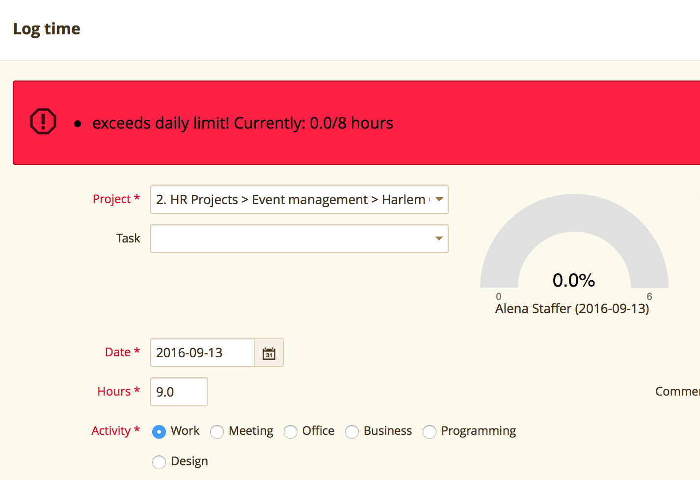Daily entry limit2 Easy Redmine screenshot