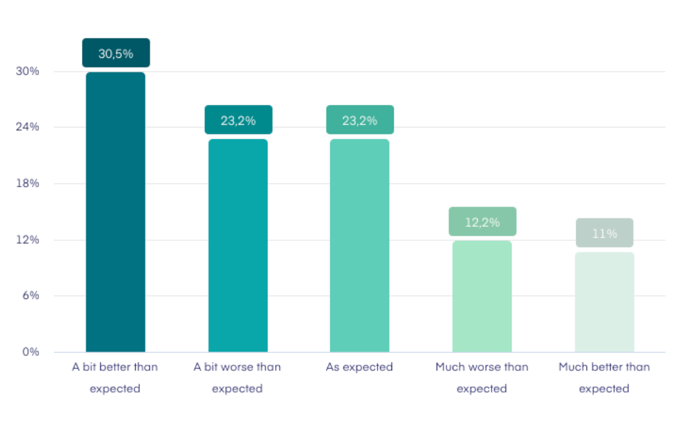 The result: Only 12 % of project managers have had a much worse business year than they expected.